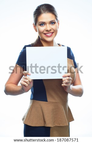 Woman hold sign board. Isolated portrait.