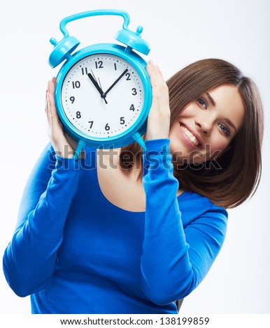 Woman hold watch on white background. Isolated girl model. - stock photo
