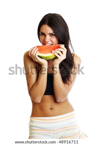 woman hold watermelon