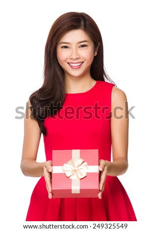 Woman hold with gift box - stock photo