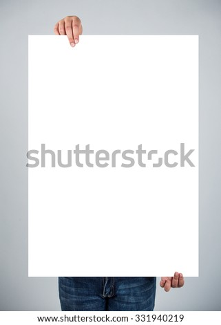 Woman hold with white placard - stock photo