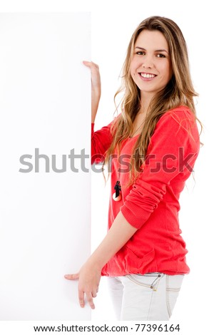 Woman holding a banner ad - isolated over a white background - stock photo