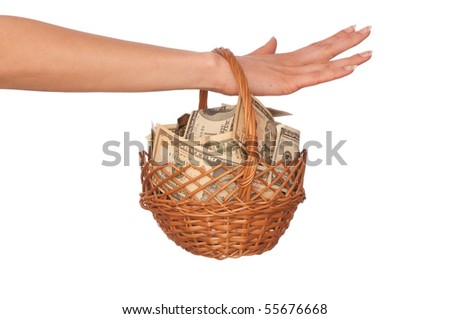 woman holding a basket with money for buying some goods