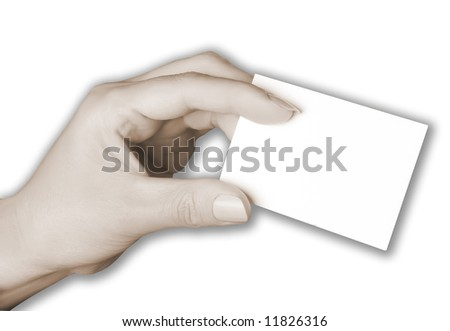 Woman holding a blank business card.