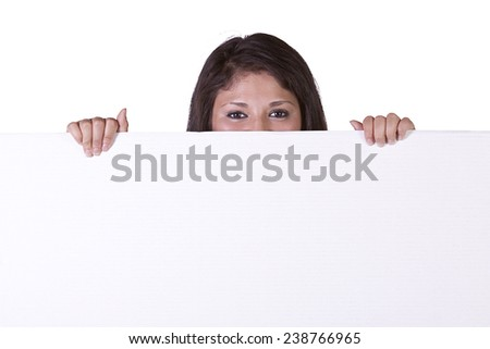 Woman Holding a Blank Sign on an Isolated Background - stock photo