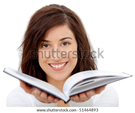 Woman holding a book open isolated over a white background - stock photo