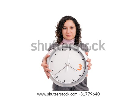 Woman holding a clock, isolated over white