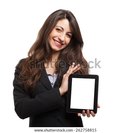 Woman holding a digital tablet - stock photo