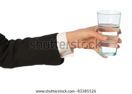 woman holding a glass with water in the hand at business break