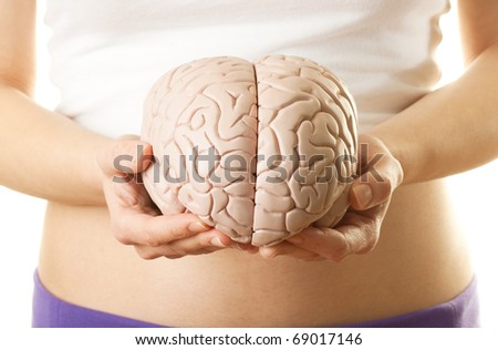 Woman holding a human brain model against white background