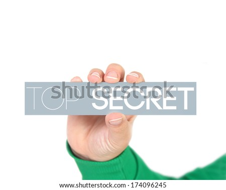 woman holding a label with top secret - stock photo
