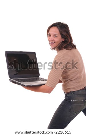 Woman holding a laptop in his hands over white background