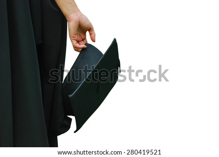woman holding a mortar board on white background - stock photo