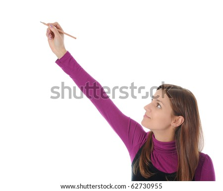 woman holding a pen. Isolated on white background - stock photo