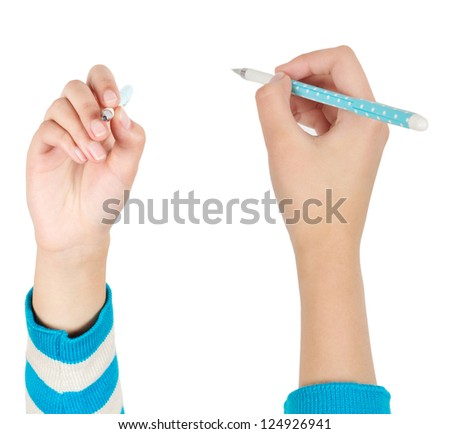 Woman holding a pen to write.