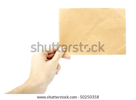 Woman holding a piece of recycled paper - Insert text here - stock photo