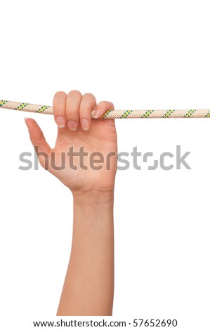 woman holding a rope with his last strength to survive