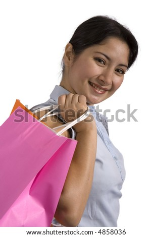Woman holding a shopping bag.