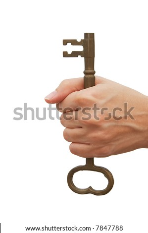 Woman holding a skeleton key over white background - metaphor for success and having a solution - stock photo