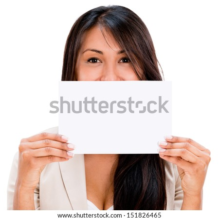 Woman holding a small placard - isolated over white background