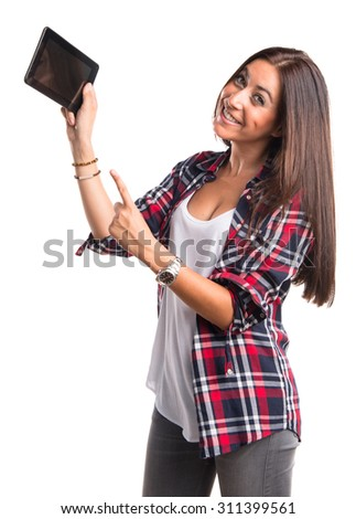 Woman holding a tablet - stock photo