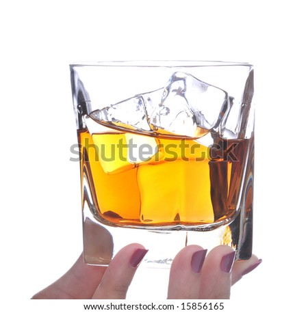 Woman Holding an Alcoholic Beverage in Her Fingers isolated over white
