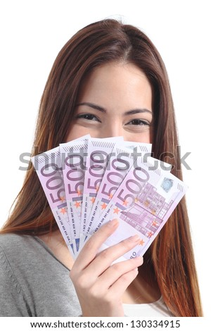 Woman holding and showing a lot of five hundred euro banknotes on a white isolated background - stock photo
