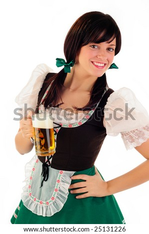 Woman Holding Beer Dressed In Traditional Dirndl Costume For Oktoberfest And St Patrick's day Celebrations
