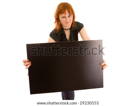 Woman holding black banner on white