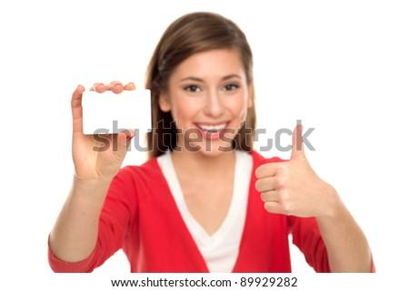 Woman holding blank card - stock photo