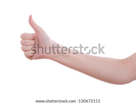Woman holding both her thumbs up high