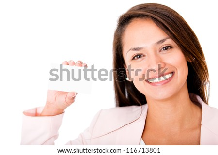 Woman holding business card - isolated over a white background