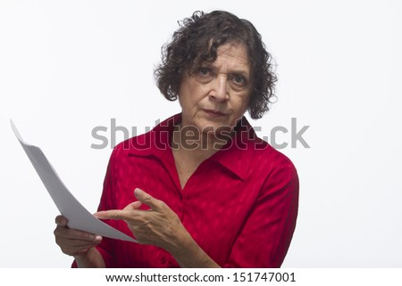 Woman holding business report,  horizontal