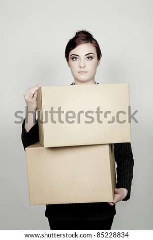 woman holding card board boxes - stock photo