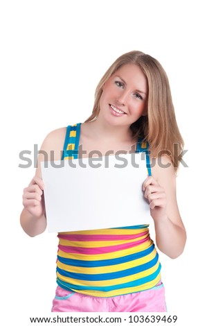 woman holding card isolated on a white background