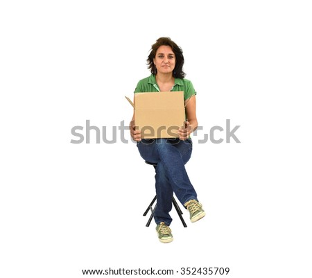 Woman holding cardboard box isolated on white background