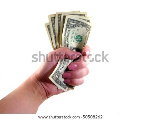 Woman Holding Cash - stock photo