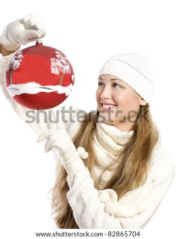 woman holding christmas red ball - stock photo