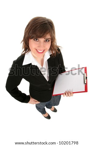 Woman holding clipboard - stock photo