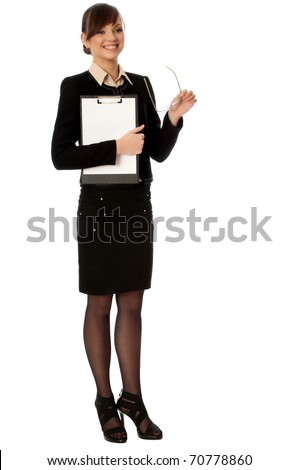 Woman holding clipboard with blank paper in the hand