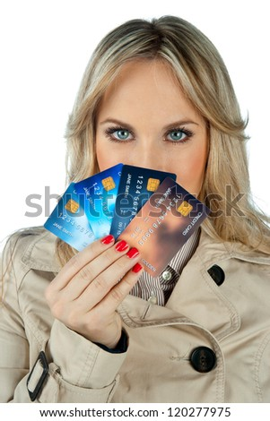 woman holding collection of credit cards - stock photo