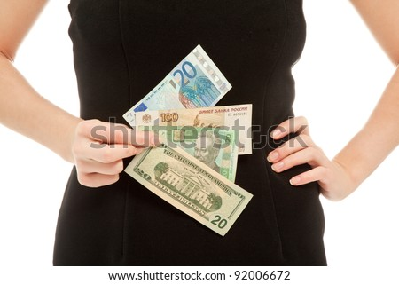 Woman holding different banknotes isolated on white