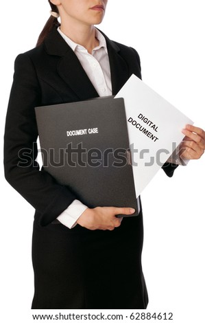 Woman holding digital document in the hand - stock photo