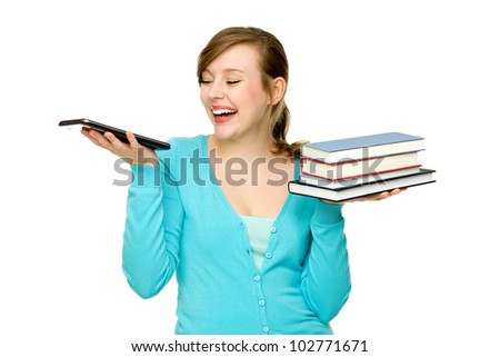 Woman holding digital tablet and books - stock photo