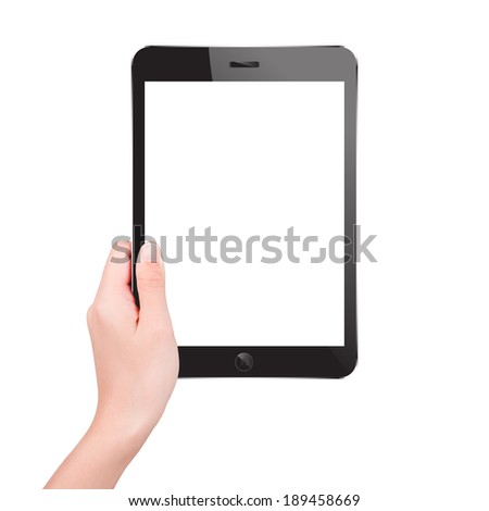Woman holding digital tablet computer with blank screen. High quality and very detailed realistic illustration of android digital tablet. Isolated on white.  - stock photo