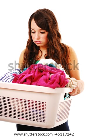 Woman holding dirty washing isolated on white