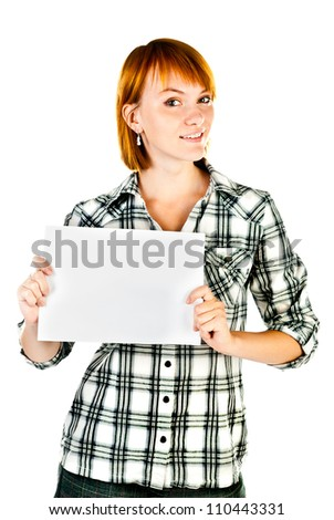 woman holding empty sheet of paper