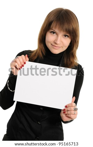 woman holding empty white board - stock photo