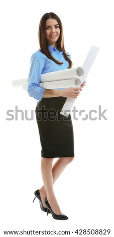 Woman holding engineering blueprints isolated on white