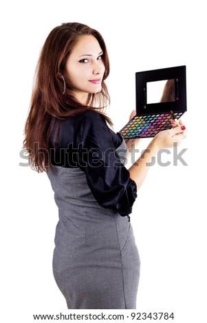 Woman holding eyeshadow set isolated on white - stock photo
